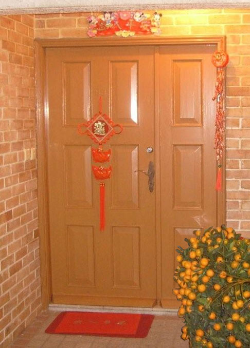 Front door with Chinese New Year decorations