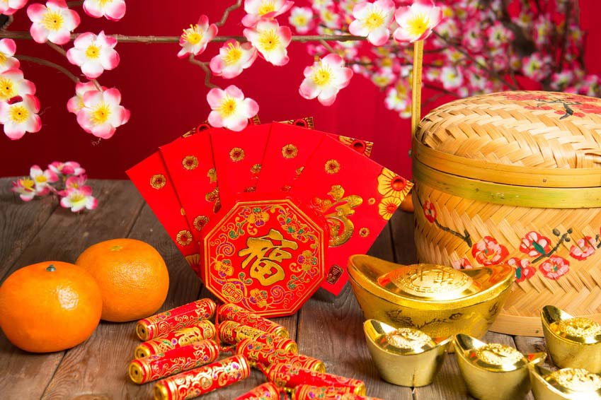 Chinese Symbols including Tangerines, Plum Blossom, Yuanbao and Firecrackers