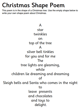 Christmas Shape Poem
