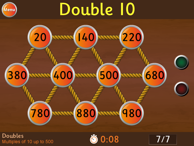 Doubles - Multiples of 10 up to 500 Game