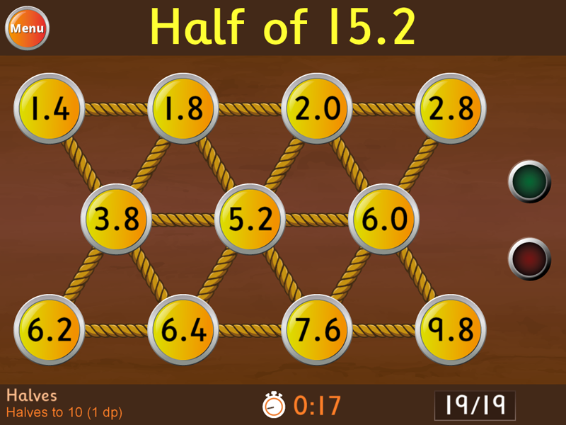 Halves to 10 (1 decimal place) Game