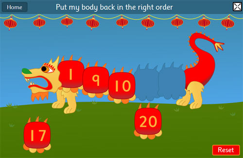Chinese Dragon Game - Ordering and Sequencing Numbers