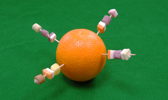 Christingle with cocktail sticks