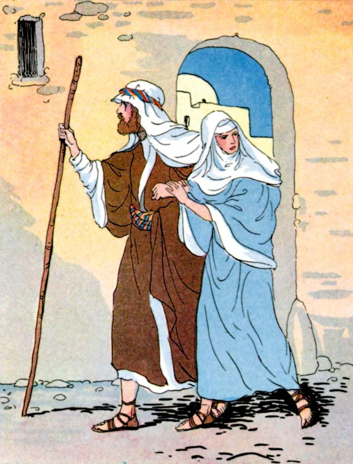 Mary and Joseph look for a room