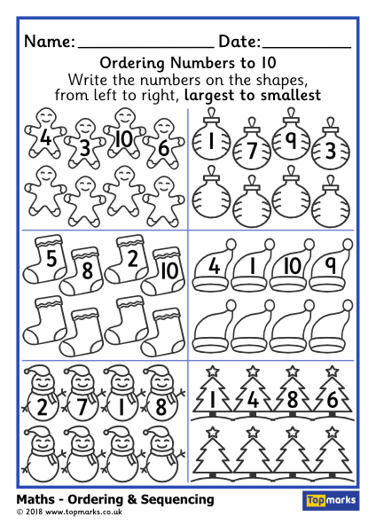 Sequencing Numbers Within 10 Largest to Smallest