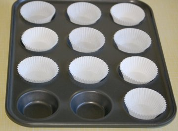 Cases in baking tray